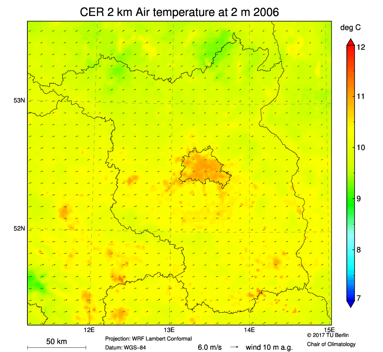 Mean Air Temperature at 2 m 2006