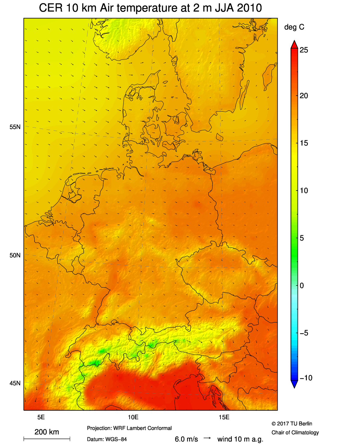 Mean Air Temperature at 2 m JJA 2010